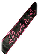 Bride To Be Adjustable Party Sash Black/pink