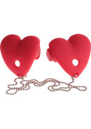 Festish Fantasy Vibrating Heart Nipple Pasties Red